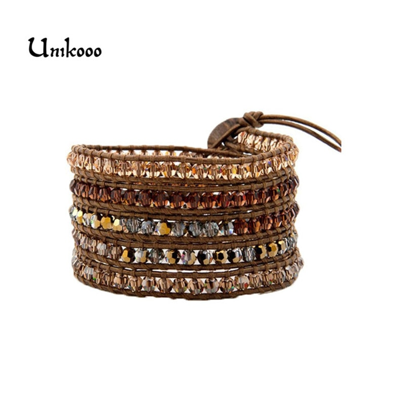 Exquisite Crystal with Glass Beads 5 Layered Leather Wrap Bracelets Antique Weaving Bracelet Dropship Jewelry