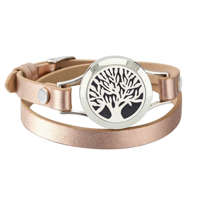 Fashion Jewelry Magnetic Diffuser Bracelets Stainless Steel Essential Oil Bracelet with Rose Gold Leather Band(with 5pads)