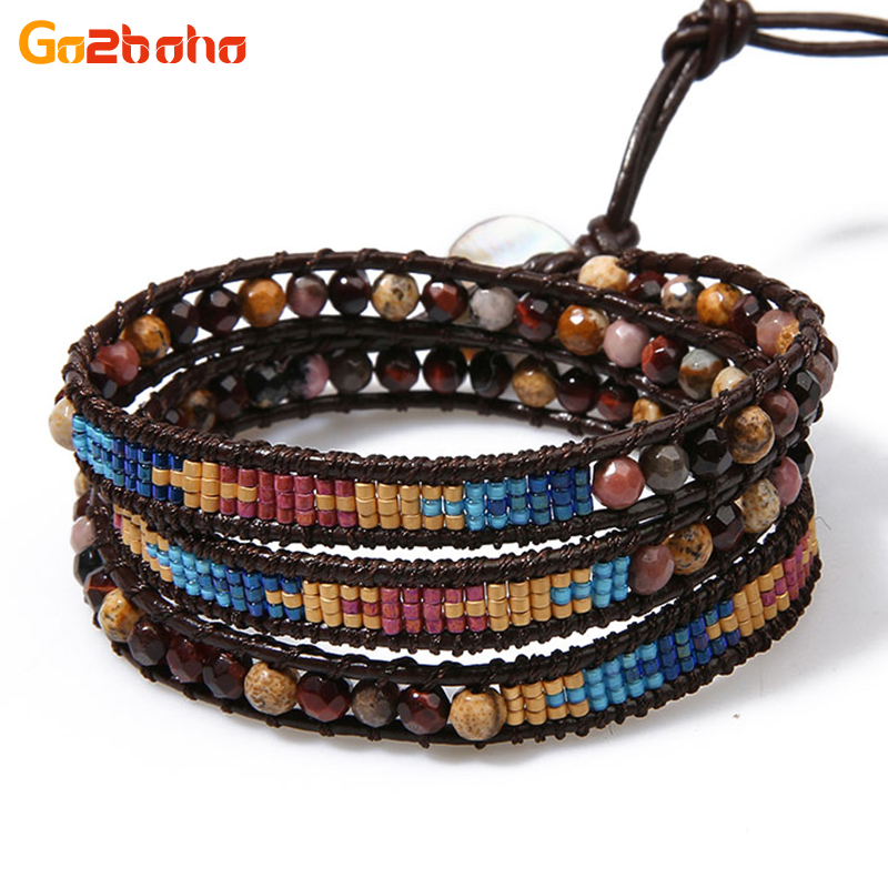 Go2boho Classic Wrap Bracelets Women Natural Stone Miyuki Seed Beads Handwoven Beaded Bangle Men Jewelry gift for lover friends
