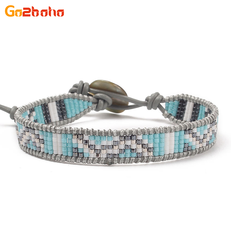 Go2boho Vintage Weave Wrap Bracelets Women MIYUKI Seed Beads Braided Beaded Bracelet New Loom Wave Pattern Charm Bangles Jewelry