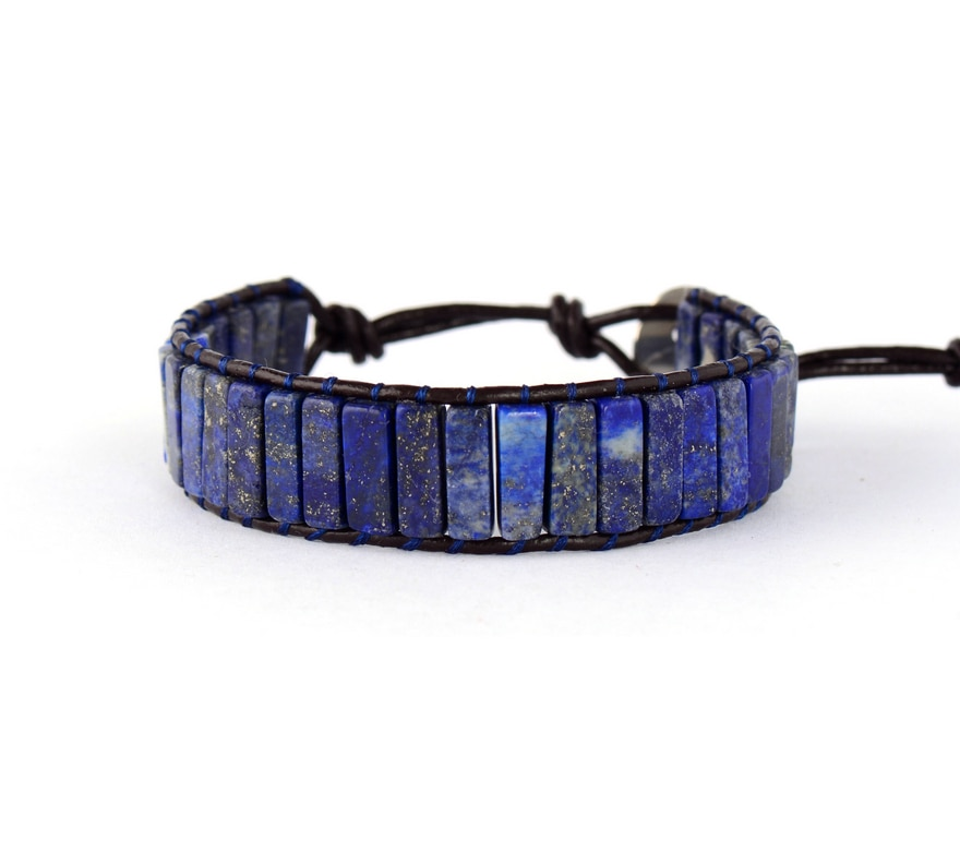 High End Square Shape Lapis Lazuli Single Leather Wrap Bracelets Vintage Weaving Beaded Cuff Bracelet Dropshipping