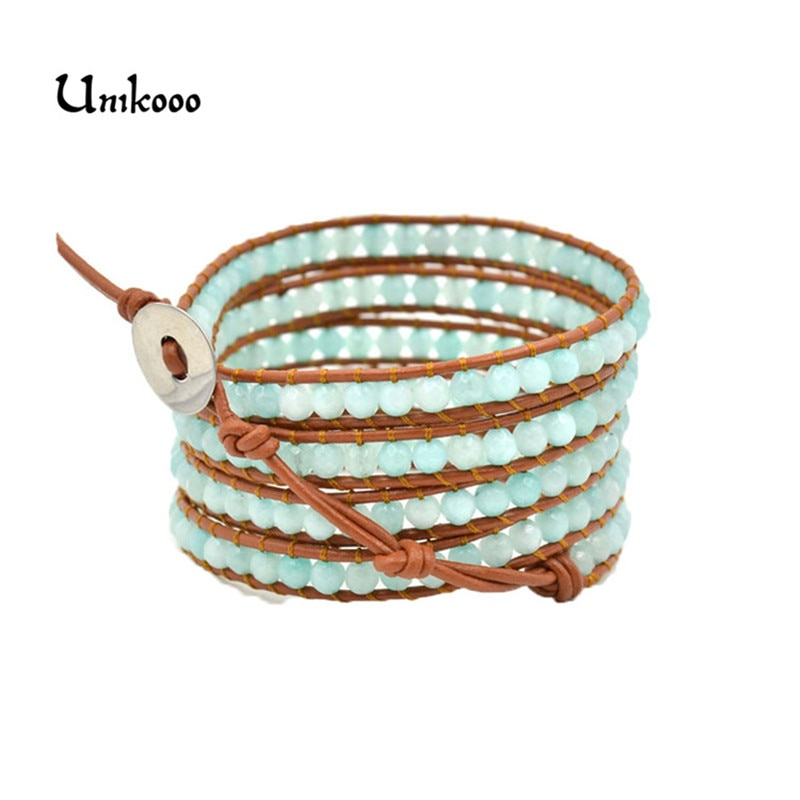 High Quality Natural Sky-blue Stond Beads Woven Leather Wrap Bracelet Unisex Natural Stone Bracelet women Leather Rope Jewelry