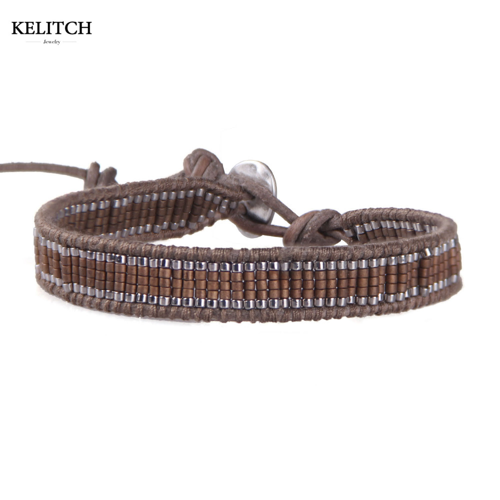 KELITCH Bracelet Jewelry 1 Wrap Bracelet with Brown Leather Chain Natural Seedbead Strand Friendship Bracelet For Friend