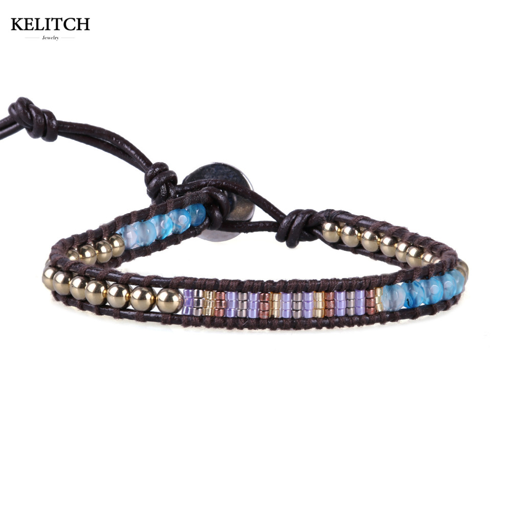 KELITCH Bracelets Jewelry Crystal Seed Beaded Bracelets 1 Wrap Bracelets Multicolor Stone Handmade Friendship Bracelet for girls