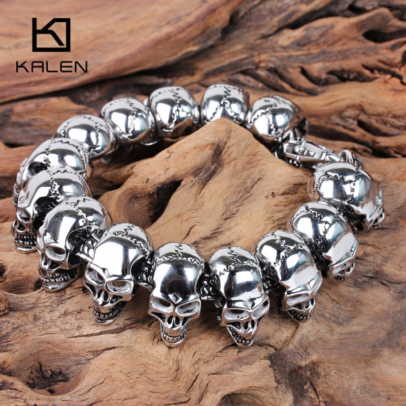Kalen Skull Charm Men's Hand Bracelet Stainless Steel Punk Skeleton Male Wrap Metal Bracelet Bangle European Rock Jewelry 2018
