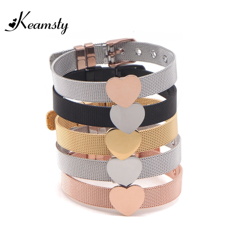 Keamsty Charms Bracelets Heart Slide Charms Stainless Steel Mesh Keeper Bracelets for Women Silver Rose Gold Black Plating