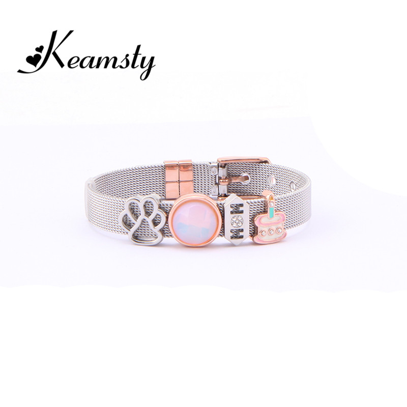 Keamsty Charms Bracelets Set Stainless Steel Mesh Cake