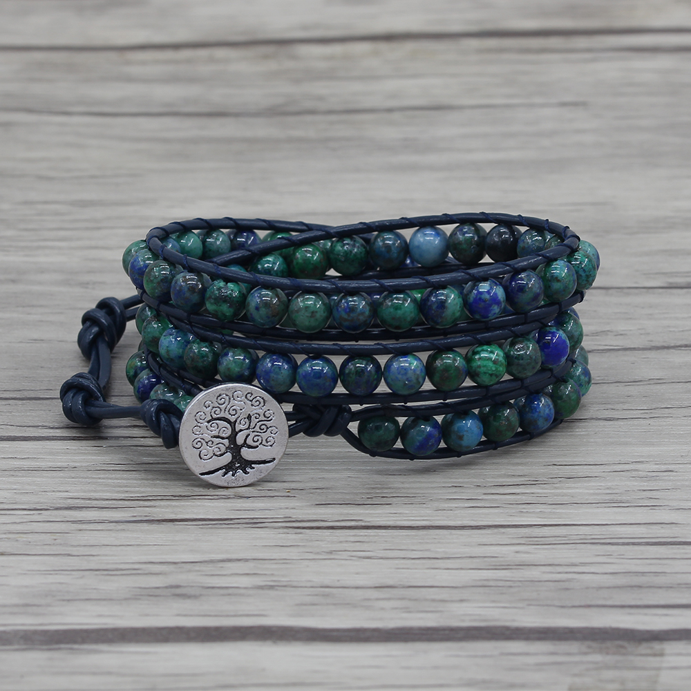 Leather wrap lapis lazuli beads bracelet Navy blue bracelet Chrysocolla beads bracelet boho jewelry yoga beads dropshiping