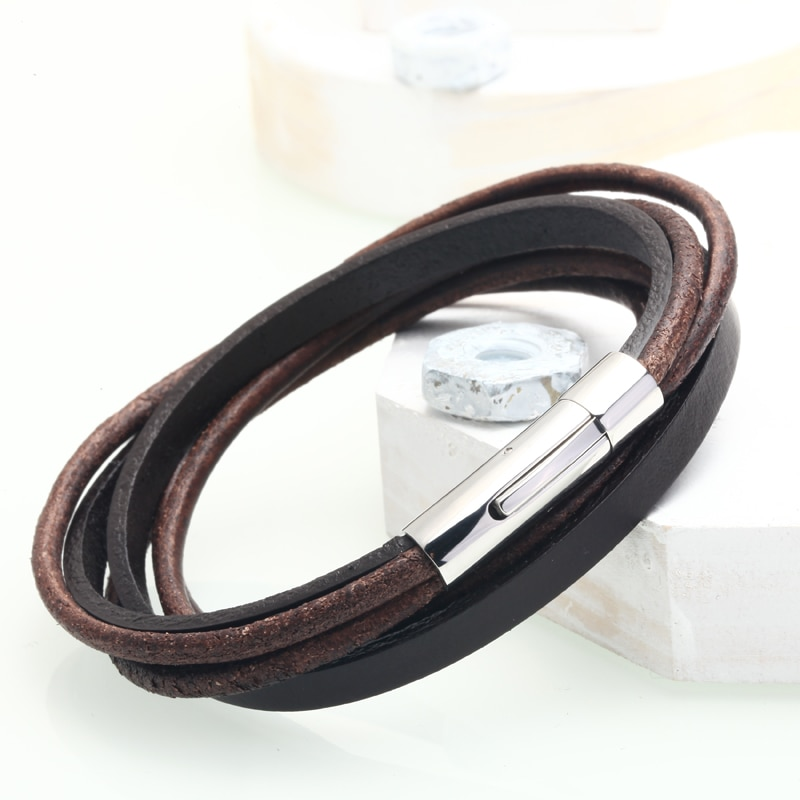 Mcllroy Fashion Leather Bracelet Men Multilayer Brown Genuine Leather Wristband Rope Bracelets Female Men jewelry Christmas Gift