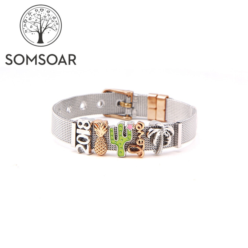 Mixed 11 style 2018 Summer Bracelet Set Coconut Tree Pineapple Stainless steel Mesh Bracelet with rose gold buckle as Gift