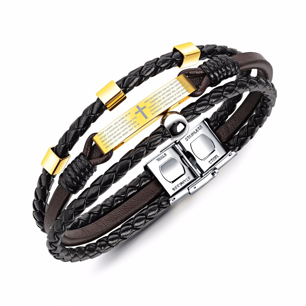 Multilayer Cross & Bible Bracelet For Men Brown Leather Gold Color Handmade Braided Rope Male Jewelry Gift PH1220