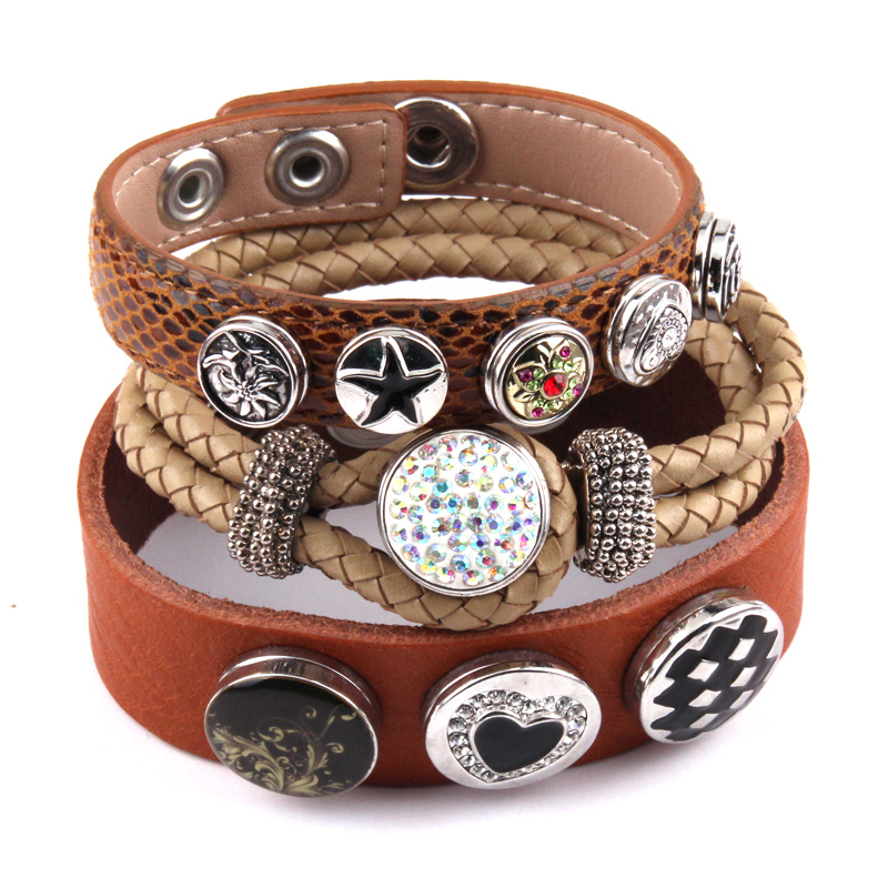 New Arrival Metal Button With Rhinestone Epoxy Enamel Leather Bracelets For Women Brown Leather Wrap Bracelet