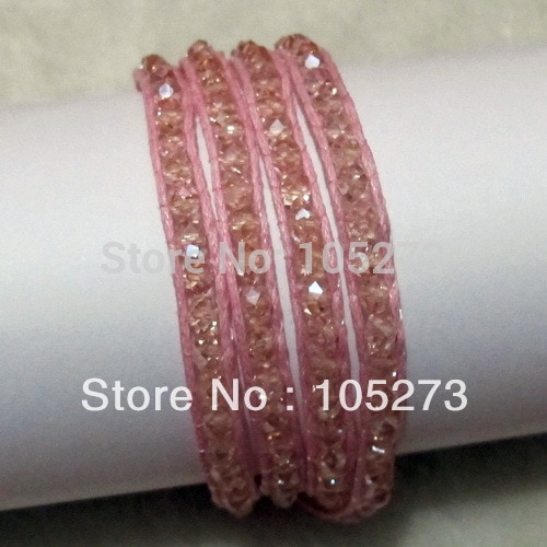 New Arriver Chirstmas & Party Jewelry 4mm Pink Color Crystal Beads On Pink Leather Wrap Bracelet 27 inch Can Wear Necklace Also