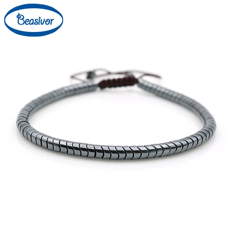New Fashion Men's Black Snake Hematite Beads Woven Wristband Healing Protection Macrame Bracelets Holiday Gift Drop Shipping