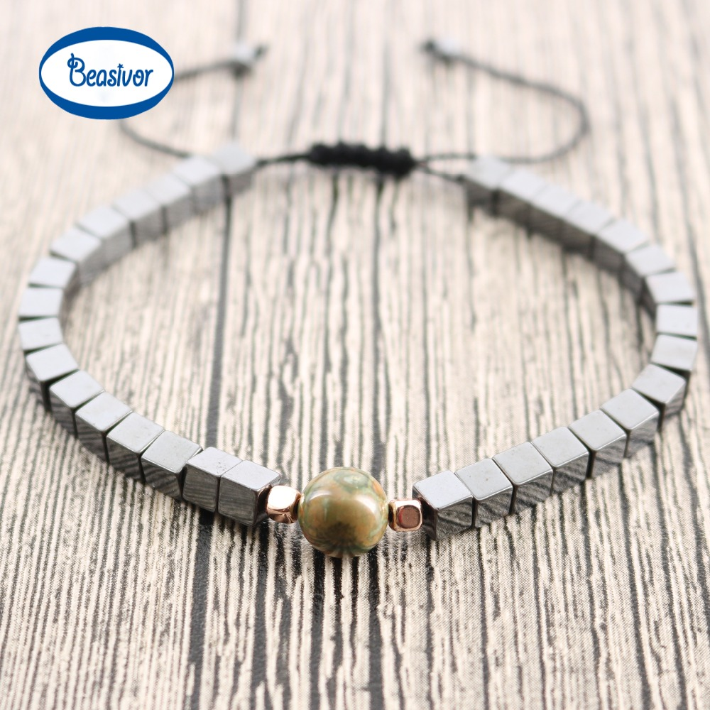 New Fashion Square Hematite Bead with Natural Stone Adjustable Bracelet Hollywood Beaded Bohemia Bracelets for Men Drop Shipping