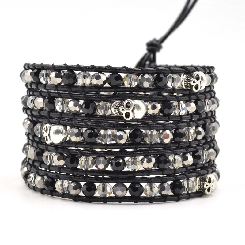 New crystal Bead Bracelet for Women Men 5 layer Handmade Leather Wraped Bracelets With silver Skull