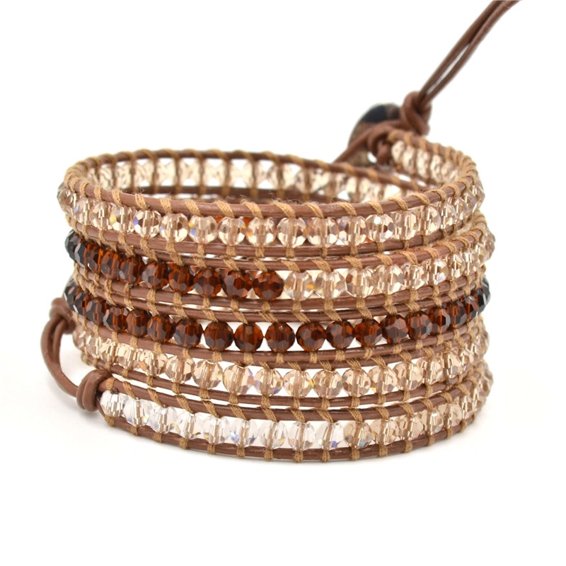 New pulseras Charm 5 Wrap Bracelet crystal beads with genuine Leather Bracelets beads men and women Jewelry gift