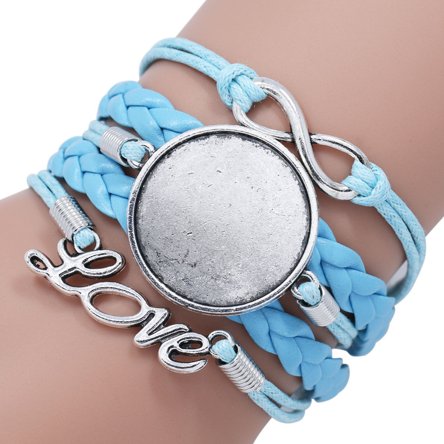 NingXiang 12pcs/lot 25MM Multilayer Infinity Leather Bracelet Part For Glass Cabochon Bracelet Wholesale DIY Bracelet Parts