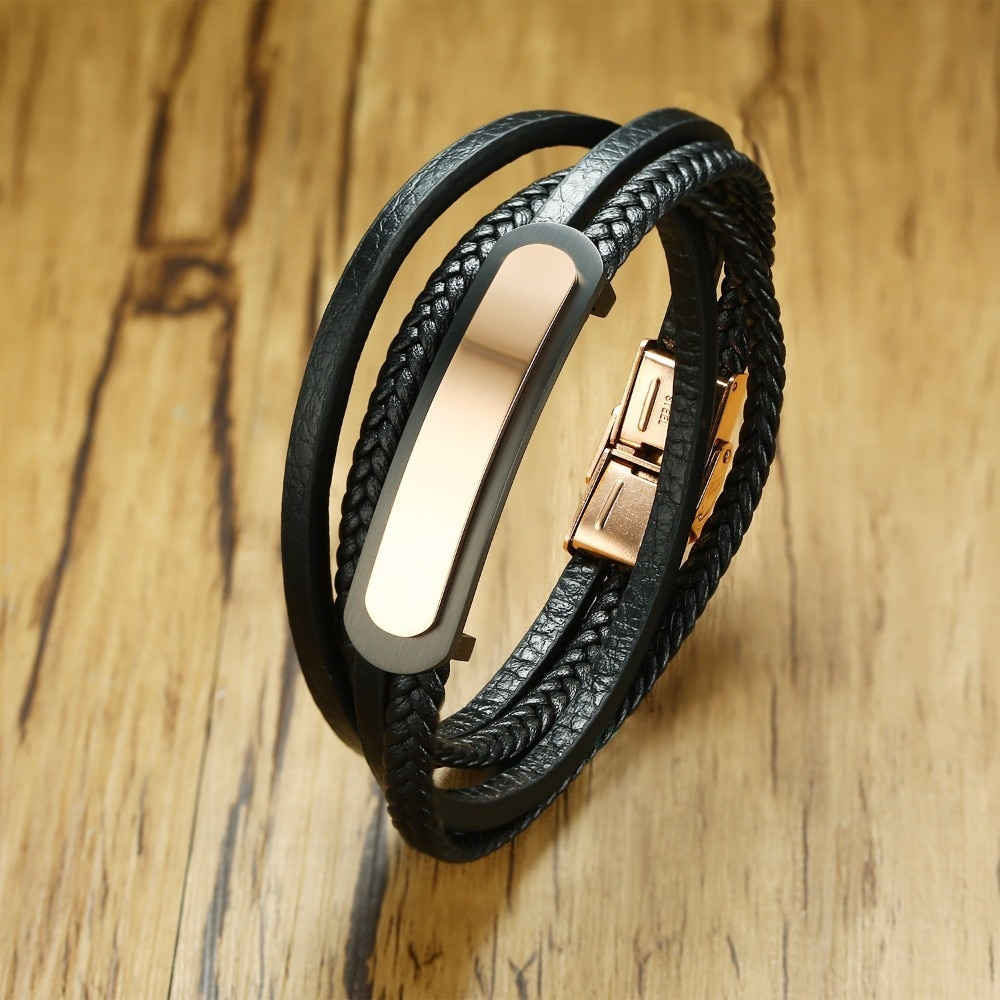 Personalised Men Rose Gold ID Tone Tag and Leather Braided Bracelet in Black Multi-layer Wrap Wristband Braslet Male Jewelry