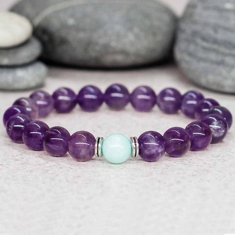 Purple Amethysts Bracelet Reiki Healing Crystal Jewelry Anxiety Stress Relief Gift For Mom Prayer Stone Bracelet Natural