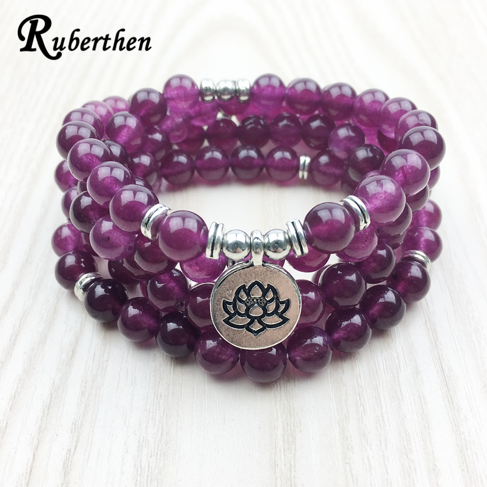 Ruberthen 2017 Fashion Claret Stone Bracelet High Quality Women`s Yogi Necklace 4 Wrap Meditation Jewelry Drop Shipping