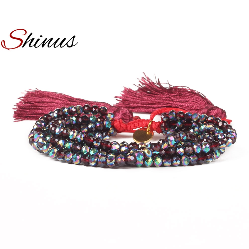 Shinus 6 Wrap Bracelet 4MM Red Faceted Crystal Tassel Bracelets Charm Women Friendship Handmade Jewelry Handmade Gifts Pulseira