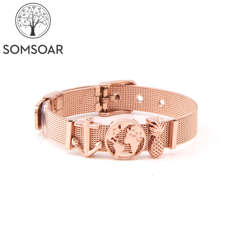 Somsoar Jewelry Rose Gold ONE WORLD Charm Bracelet Set TRAVEL EXPLORE LIVE Mesh Bracelet set with Map Charms for Women