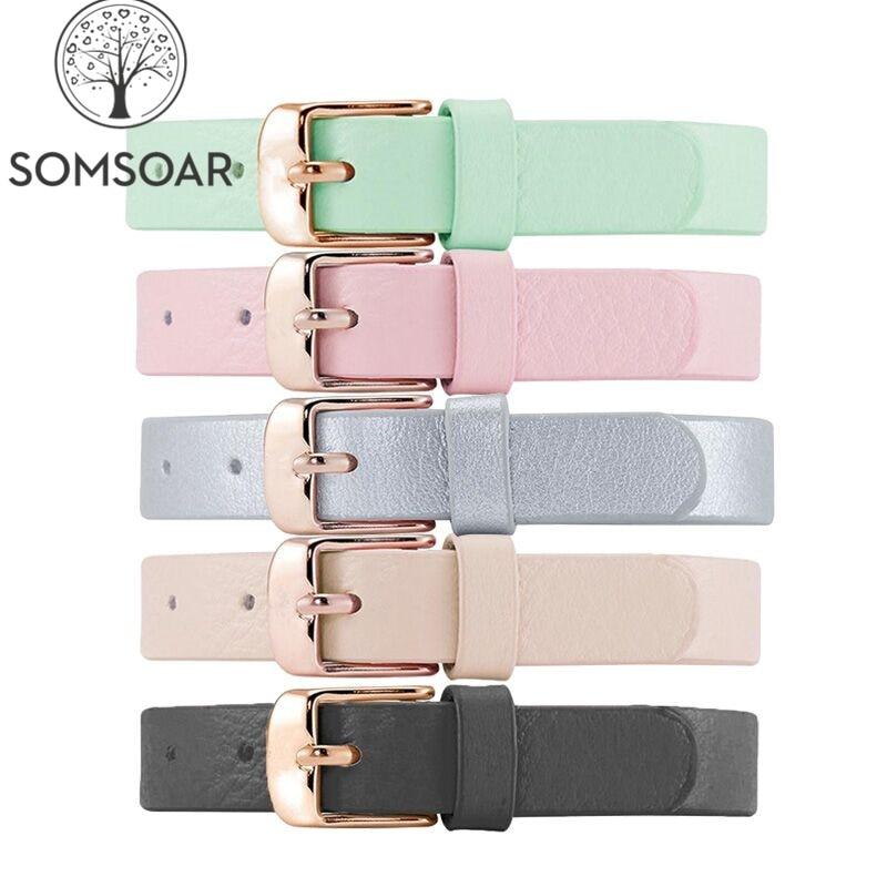 Somsoar Jewelry with rose gold Buckle Genuine Leather Charm Bands Leather Wrappable Bracelet fit DIY Slide Charm 1pcs
