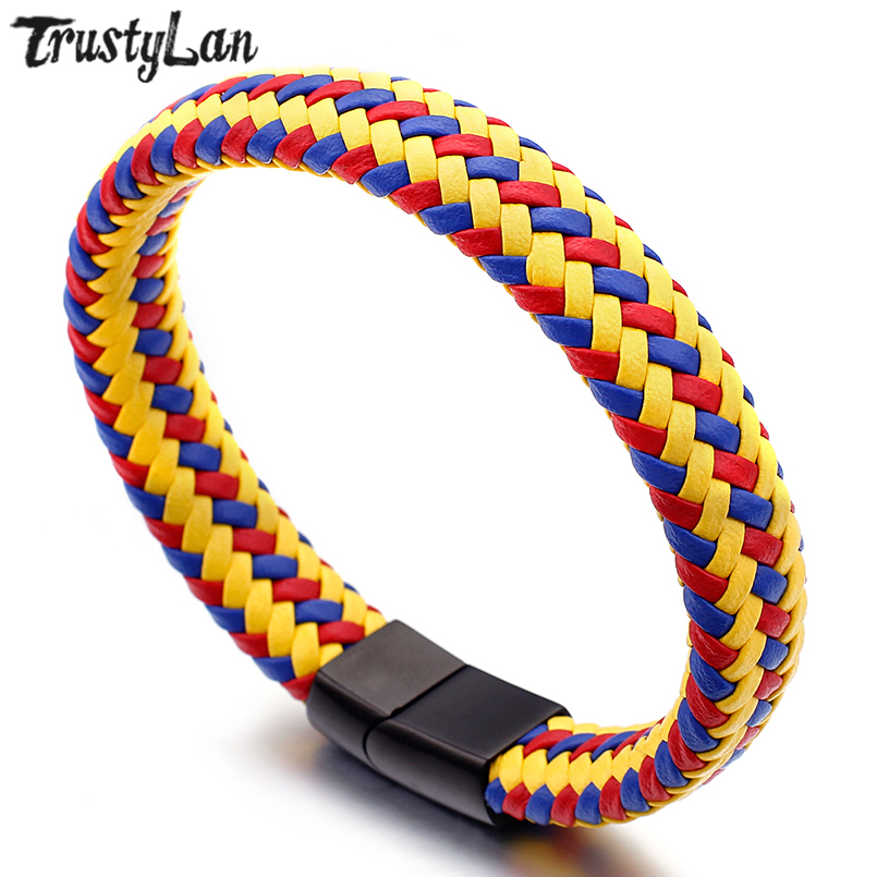 TrustyLan Handmade Jewelry Braided Wrap Leather Bracelet Men Stainless Steel Magnet Clasp Armband Friendship Mens Bracelets Drop
