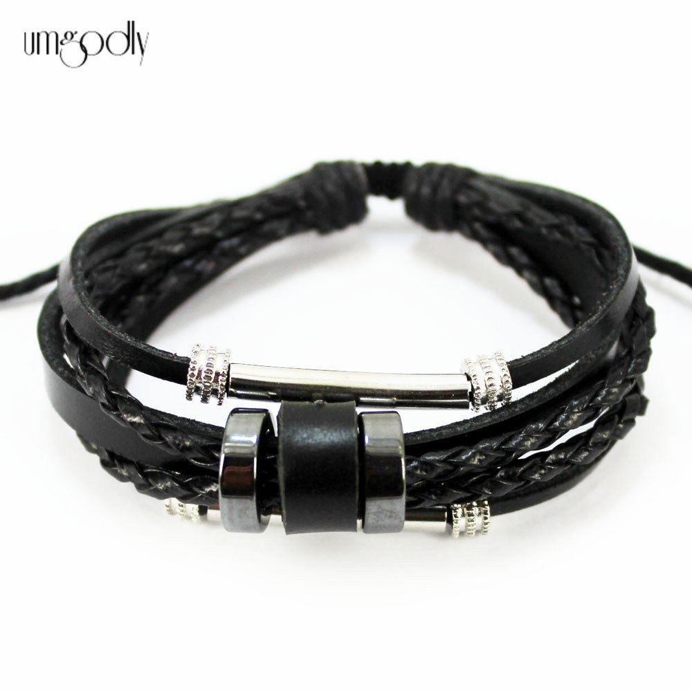 UMGODLY HOT SALE Mens Womens Fashion Rock Hemp Leather Bracelet Handmade Unisex Surfer Charm Wrap Bracelets Wristband Cuff A3029