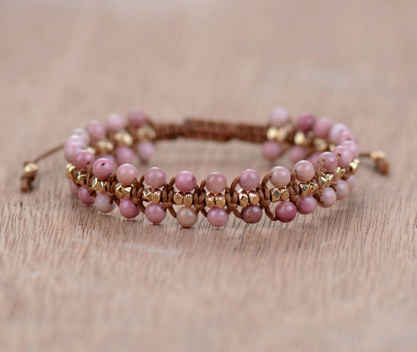 Unique Rhodonite Gold Beads Wrap Bracelets Wholesale Handmade Bohemia Weaving Bracelet Birthday Gift Boho Jewelry Dropship