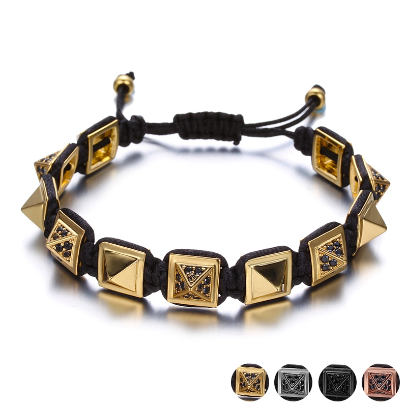 Unique Rock Metal Square Rivet Male Bracelets Hand Accessories Adjustable Black Rope Braiding Wrap Bracelet Homme Pulseras