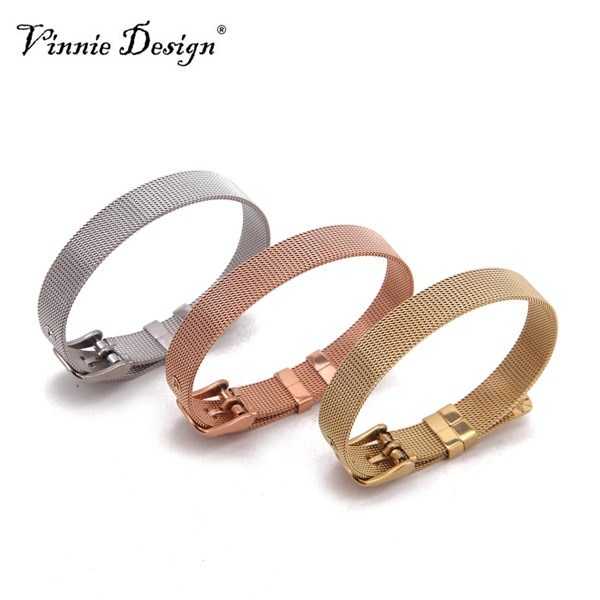 Vinnie Design Jewelry Stainless Steel Keeper Wrap Bracelets in Rose Gold, Silver, Gold Mesh Bracelet for Slide Charms 10pcs/lot