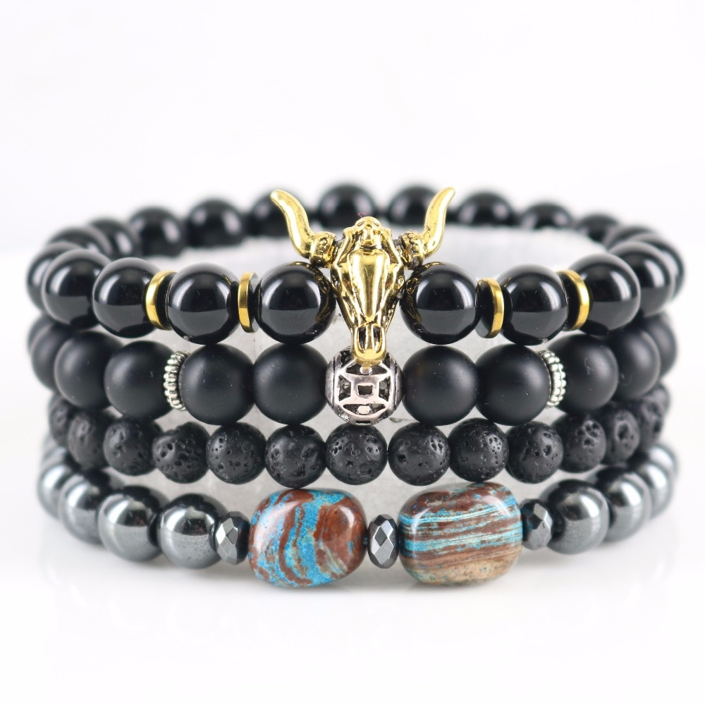 Wooden-Fossil Natural Loose Onyx Matte Lava Hematite Beads Bracelets Bull Head with Skull Design Unisex Wrap Bracelets
