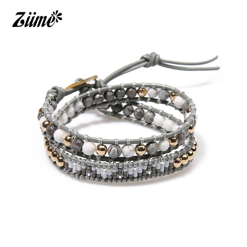 Ziime 2018 Summer Handmade Double Layer Leather Wrap Bracelet Natural Stone Women Japanese Miyuki Braceelets Yoga Accessories