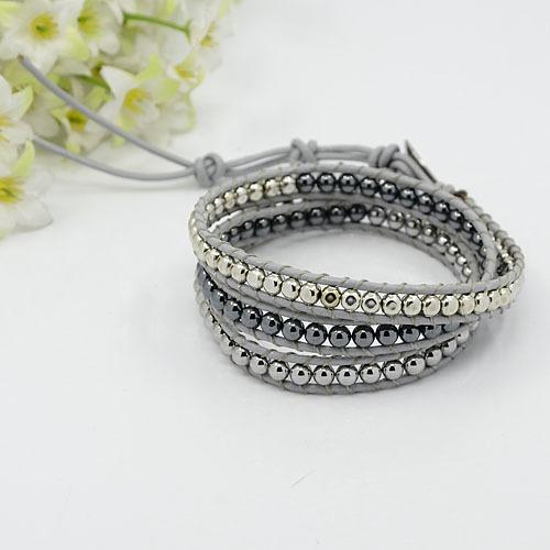 fashionable three loops leather wrap bracelets, with round stone beads and stainless steel findings, silver, hematite,