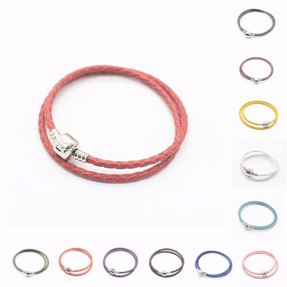 wholesale 10pcs 3mm/2 laps Genuine Leather with Bare chain silver clip bracelet chain fit european bracelet js1449